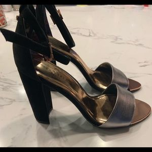 Ted Baker London Caiye Black and Silver Sandal
